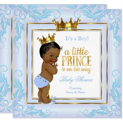 Light Blue Gold Crown Prince Baby Shower Ethnic Invitations