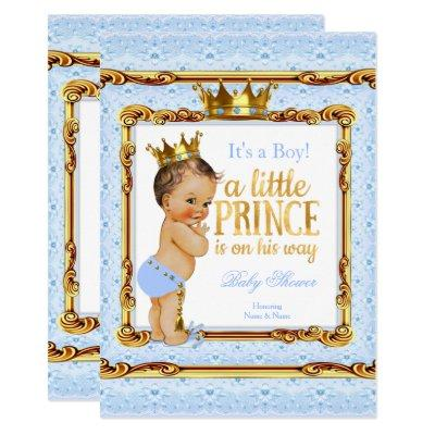 Light Blue Gold White Prince Baby Shower Brunette Invitations