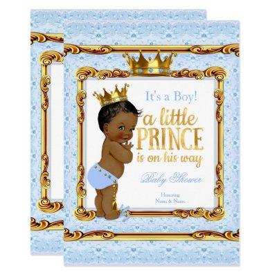 Light Blue Gold White Prince Baby Shower Ethnic Invitations