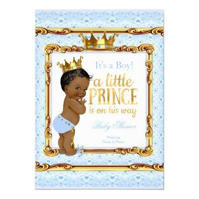 Light Blue Gold White Prince Ethnic Invitations