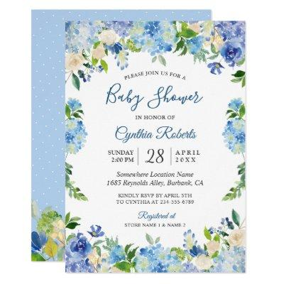 Light Blue Hydrangea Watercolor Floral Baby Shower Invitation