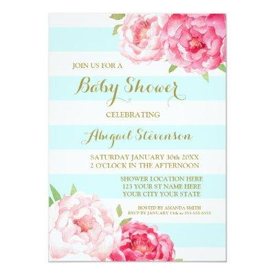 Light Blue Stripes Watercolor Flowers Baby Shower Invitations