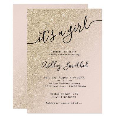 light gold glitter pink ombre block baby shower invitation