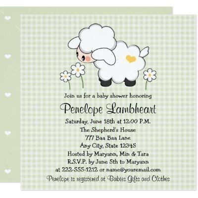 Light Green Baby Lamb Baby Shower Invitation