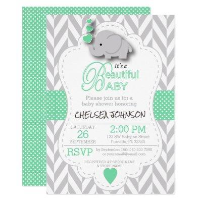 Light Green, White Gray Elephant Baby Shower Invitations