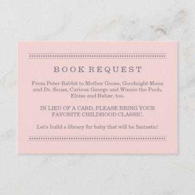 Light Pink Book Request Girl Baby Shower Enclosure Card