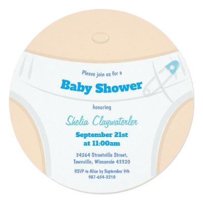Light Skin & Diaper Blue | Baby Shower Invitation