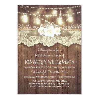 Lights Mason Jars Lace Wood Rustic Bridal Shower Invitations