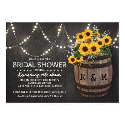 Lights Rustic Vineyard Sunflower Bridal Shower Invitations