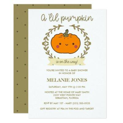 'Lil Pumpkin Fall Halloween Baby Shower Invitation