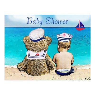 Lil' Sailor and Teddy Bear Baby Shower Invites