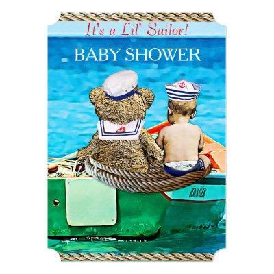 Lil' Sailor Boy's Baby Shower Invitation