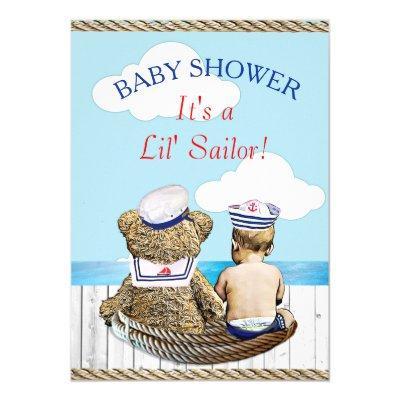 Lil' Sailor Boy's Baby Shower Invitations