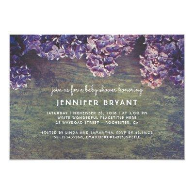 Lilac Blossoms Rustic Wood Spring Baby Shower Invitation