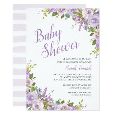 Lilac Floral Baby Shower Invitation