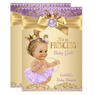 Lilac Gold Ballerina Princess Baby Shower Blonde Invitation