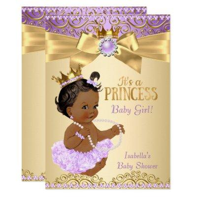 Lilac Gold Ballerina Princess Baby Shower Ethnic Invitations