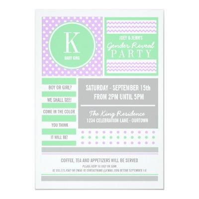 Lilac & Lime Gender Reveal Party Invitations