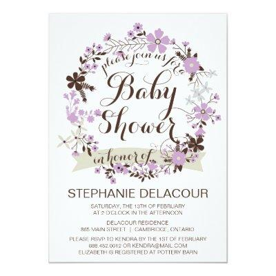 Lilac Spring Floral Wreath Invitations