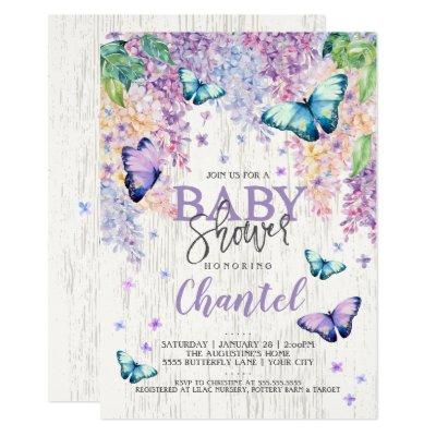 Lilacs and Butterfly | Baby Shower Invitation