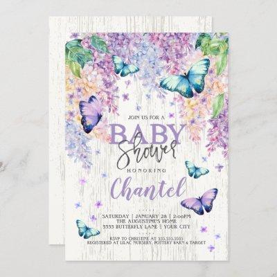 Lilacs and Butterfly   Baby Shower Invitation