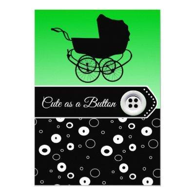 Lime Green & Black Boy Baby Shower Invitations
