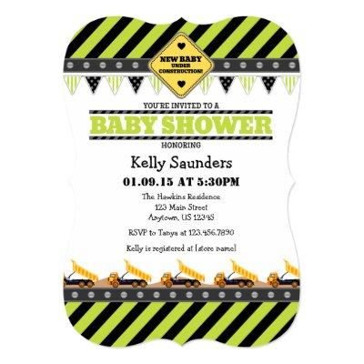 Lime Green Construction Baby Shower Invitation