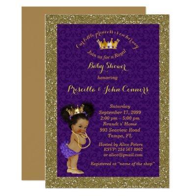 Little Afro Princess ,purple Invitations