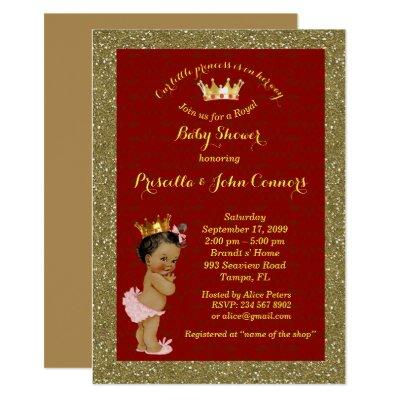 Little Afro Princess Baby Shower Invitation,red Invitation