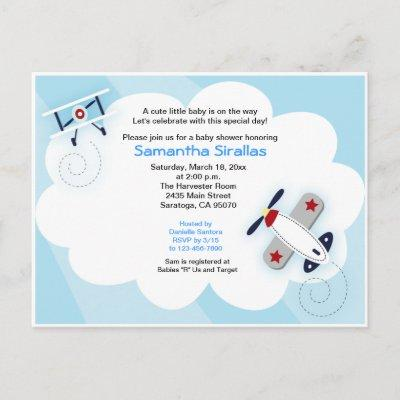 Little Aviator Airplane Baby Shower Post Card