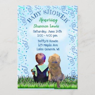 Little Baby Boy and his Dog Baby Shower Invitation