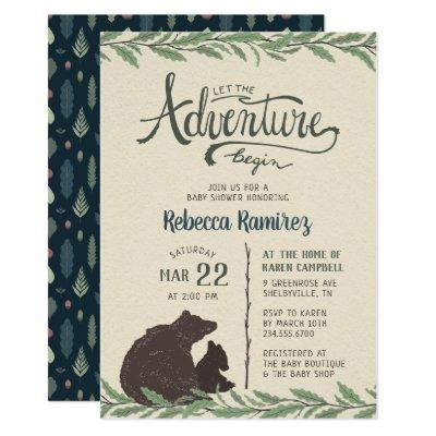 Little Bear Rustic Long Distance Baby Shower Invitation