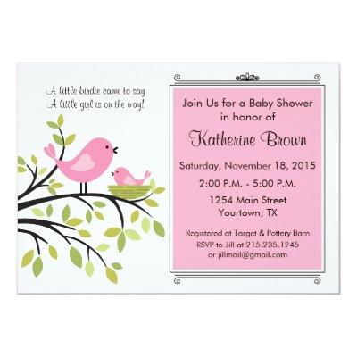 Little Bird Baby Shower Party Invitations
