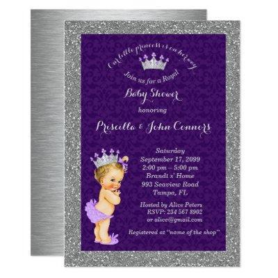 Little blond Princess Baby Shower Invite,silver Invitation