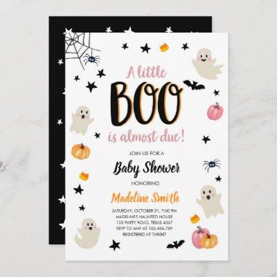 Little Boo Cute Halloween Pink Ghost Baby Shower Invitation