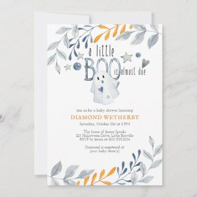 Little Boo is Almost Due Halloween Baby Shower Invitation
