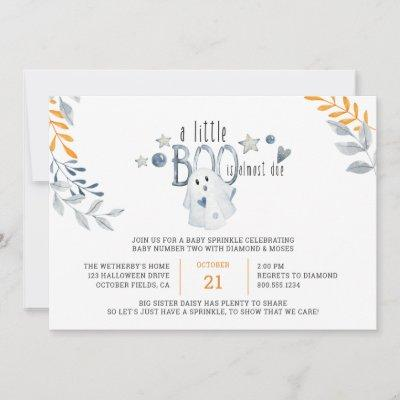 Little Boo is Almost Due Halloween Baby Sprinkle Invitation