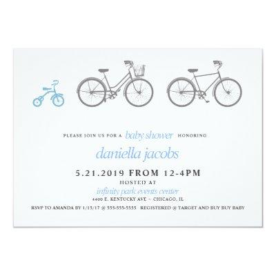 Little Boy Blue Bicycle Baby Shower Invitation