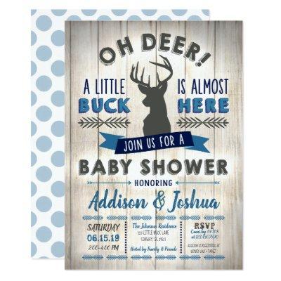 Little Buck Deer Baby Shower Invitation