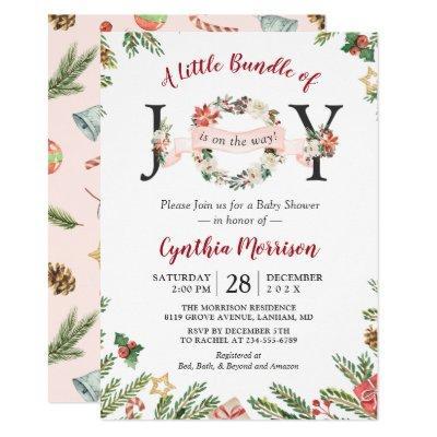 Little Bundle of JOY Christmas Floral Baby Shower Invitation