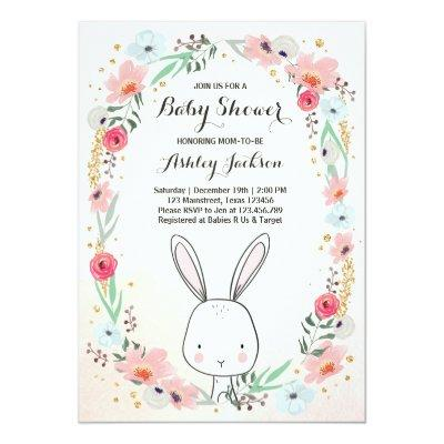 Little Bunny Baby Shower Invitations Floral Girl