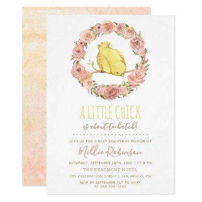 Little Chick Is About To Hatch Floral Baby Shower Invitation