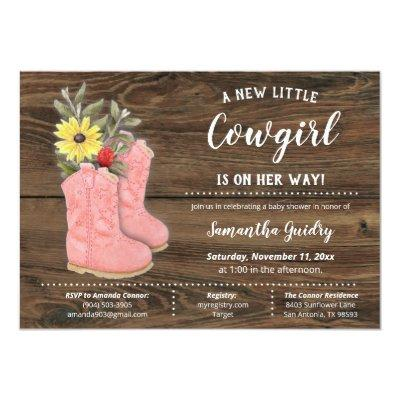 Little Cowgirl Bootie Brown Wood Baby Shower Invitation