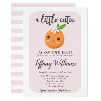 Little Cutie Clementine Pink Baby Shower Invitation