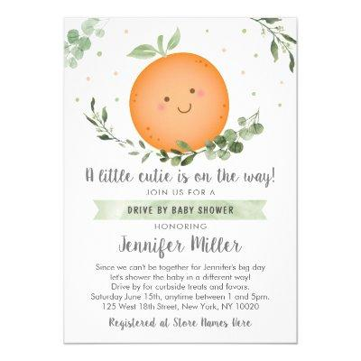 Little Cutie Greenery Drive By Baby Shower Invitation
