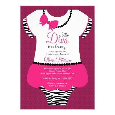 Little Diva , Zebra, Pink Invitations