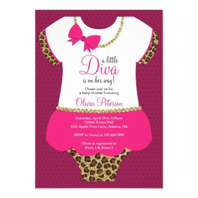 Little Diva Baby Shower Invite, Cheetah, Faux Gold Invitation