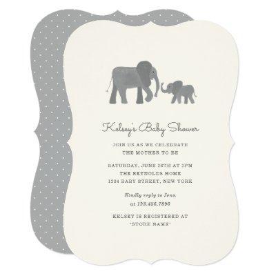 Little Elephant Baby Shower Invite