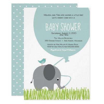 Little Elephant & Bird & Giant Balloon Baby Shower Invitation
