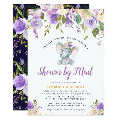 little elephant purple floral shower by mail invitation